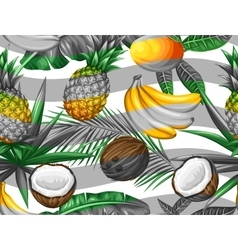 Seamless pattern with tropical fruits and leaves vector