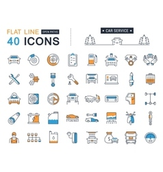 Set flat line icons car service vector