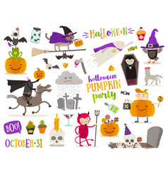 set of halloween cartoon characters sign symbol vector image