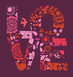 spring floral ornamental love message print vector image vector image