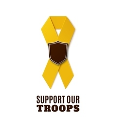 Support our troops yellow ribbon vector