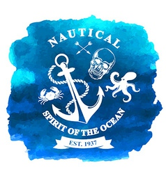 T-shirt design Nautical marine badge design vector image vector image