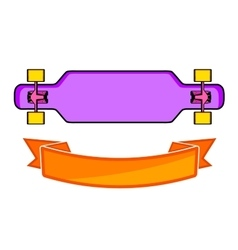 The composition of longboard vector image