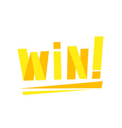Win congratulations sticker with yellow letters vector