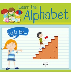 Flashcard letter U is for up vector image