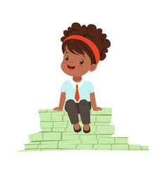 Cute girl businesswoman sitting on a pile of money vector
