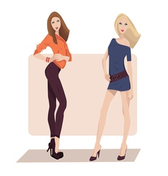 Two fashion girls vector
