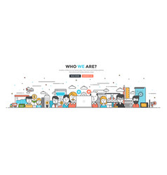 Modern flat line color hero image of who we are vector