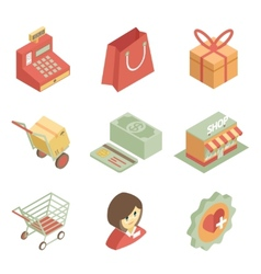 Isometric shopping icons vector
