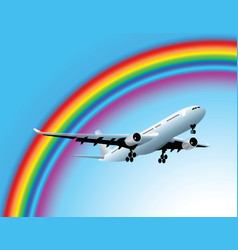 plane and rainbow vector image