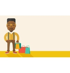 Black guy who go shopping vector