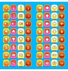 Orange game icons buttons icons interface ui vector