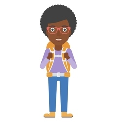 Cheerful woman with backpack vector