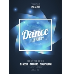 Dance party in light frame on blue flame vector image