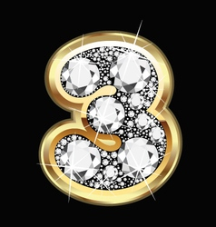 3 number gold and diamonds vector image