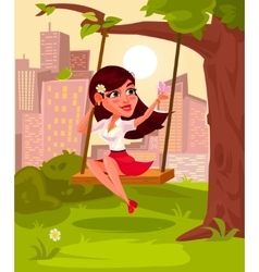 A young girl sitting on vector