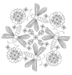 background with dragonfly and flowers vector image