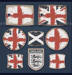 British flag on label on jeans vector