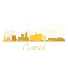 Cannes city skyline golden silhouette vector