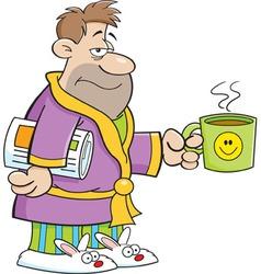 Cartoon grouchy man in a bathrobe vector image vector image