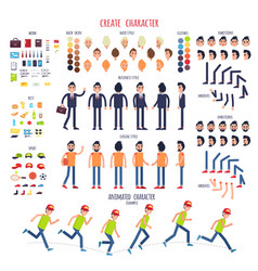 Create character set of different body parts vector