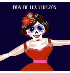 Dia de los muertos greeting card invitation vector