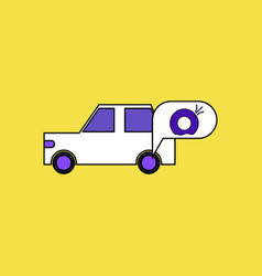 Flat icon design collection car and punctured tire vector
