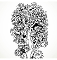 Graphically drawing black ink big old tree vector