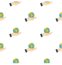 Hand holding globe pattern flat vector