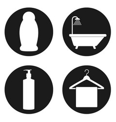 Line bathroom icon set in circle button vector