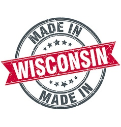 Made in wisconsin red round vintage stamp vector