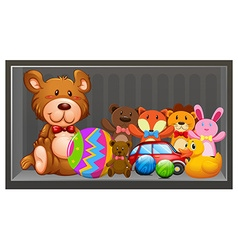 Many dolls and balls on the shelf vector