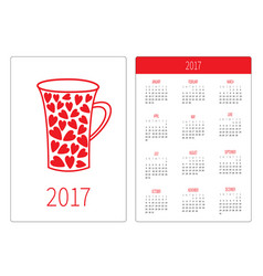 pocket calendar 2017 year week starts sunday vector image vector image