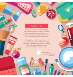 Postcard template of flat design cosmetics make vector