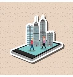 Smart city design online icon internet concept vector
