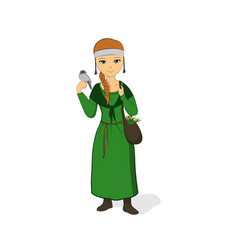 The girl is a healer in a green dress vector