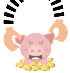 Thieves hand stealing money coin from piggy bank vector