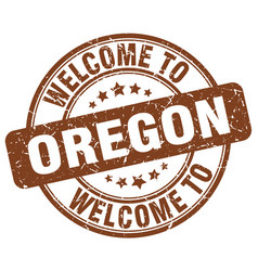 Welcome to oregon brown round vintage stamp vector