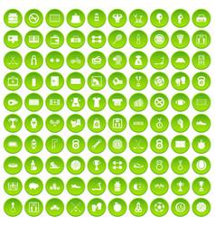 100 basketball icons set green circle vector