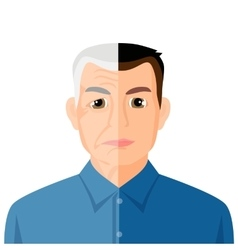Aging concept portrait showing the process of vector