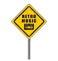 Retro music old scratched road sign vector