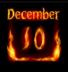 Tenth december in calendar of fire icon on black vector
