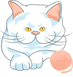Cute white cat with yellow eyes and ball of yarn vector