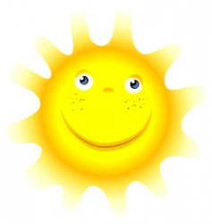 Cartoon sun symbol face vector