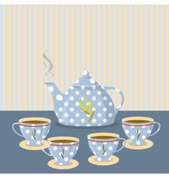 Vintage tea set on the background of the strips vector image