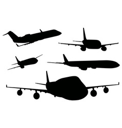 Airplanes in black color vector