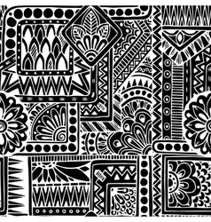 Seamless ethnic doodle black and white background vector