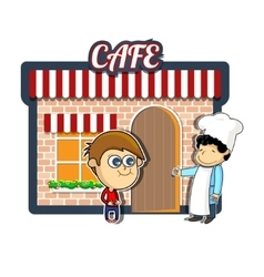 Vintage cartoon cafe vector