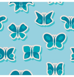 Seamless background with different butterflies vector