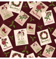 Vintage christmas stamps seamless pattern vector